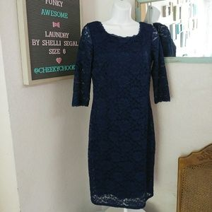 Laundry by Shelli Segal lace navy bodycon dress